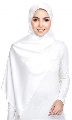 Dailyn Shawl ( Satin Crepe ) in White
